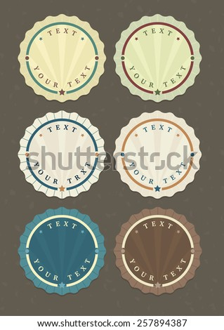 Vector set of vintage round labels with copy-space for your text  - stock vector