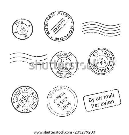 Vector set of vintage style post stamps from countries and cities around the world - stock vector