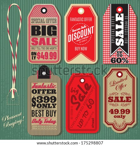 vector set of Vintage Style Sale Tags Design - stock vector