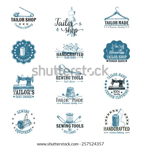 Vector set of vintage tailor labels, badges and hand drawn design elements.  - stock vector