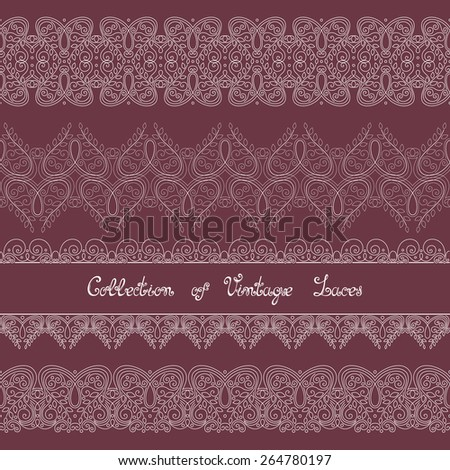 Vector Set of Vintage Template with Ornate Laces. Hand Drawn Borders in Trendy Linear Style. Wedding Decor - stock vector