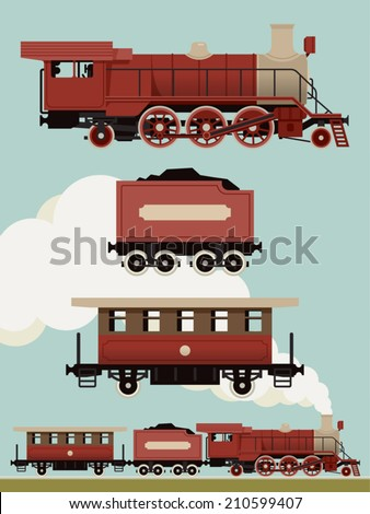 Vector set of weathered red steam locomotive with cars | Vintage train set | Railroad steam engine, coal car and passenger car - stock vector