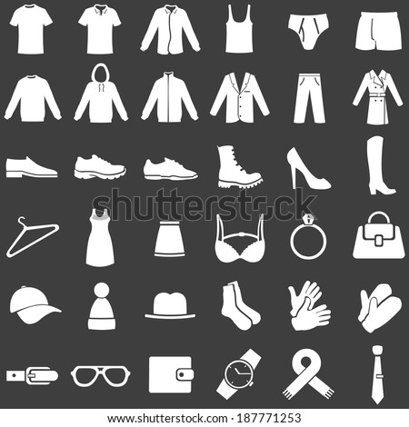 Vector Set of  White Clothes Icons - stock vector