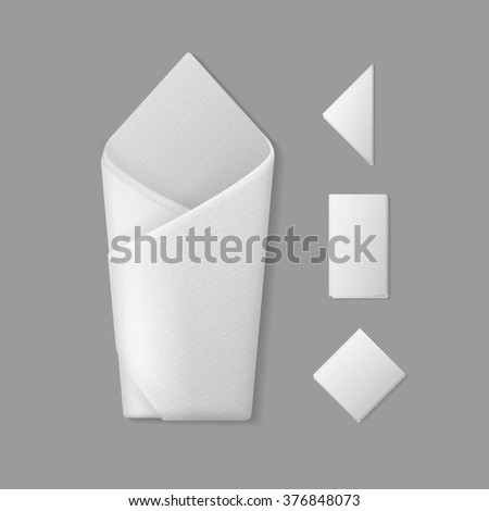 Vector Set of White Folded Envelope Square Rectangular Triangular Napkins Top View Isolated on Background. Table Setting - stock vector