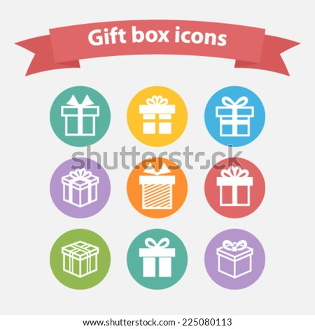 Vector set of white gift box icons,shape,sign in flat style - stock vector