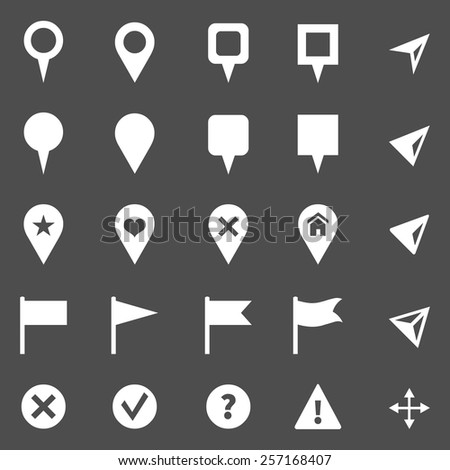 Vector Set of White GPS Icons. Map Markers and Pointers. - stock vector
