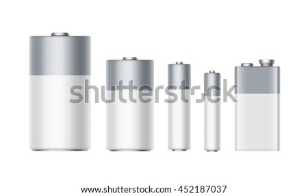Vector Set of White Gray Glossy Alkaline Batteries Of Diffrent size AAA, AA, C, D, PP3 and 9 Volt Battery for branding Close up Isolated on White background - stock vector