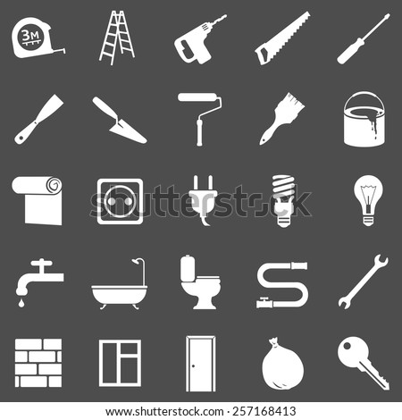 Vector Set of White Home Repairing, Building, Construction and Decoration Icons - stock vector