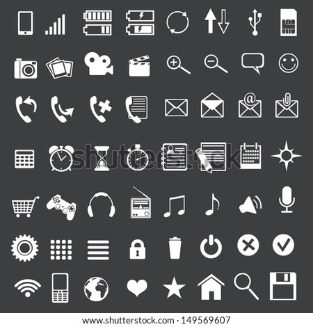 Vector set of 56 white mobile icons - stock vector