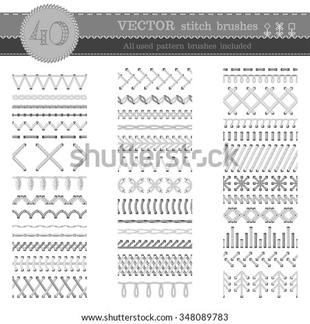 Vector set of white seamless stitch brushes. Sewing patterns, seams, borders, page decorations and dividers isolated on white background. All used pattern brushes included. - stock vector