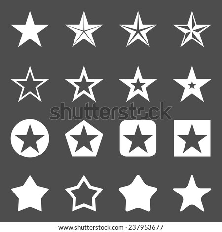 Vector Set of White Star Icons - stock vector