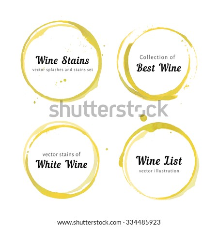 Vector set of white Wine stain circles, splashes and spot isolated on white background. Watercolor hand drawing glass marks. - stock vector