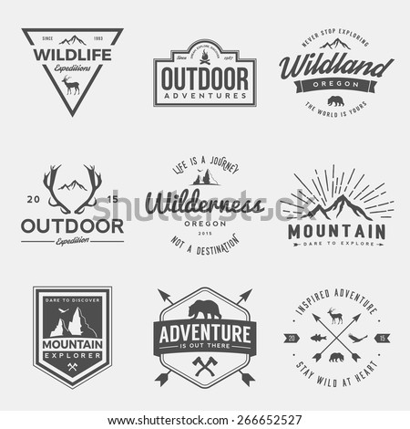 vector set of wilderness and nature exploration vintage  logos, emblems, silhouettes and design elements - stock vector