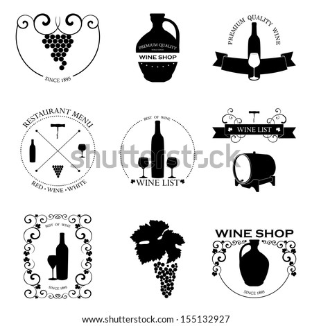 Vector set of Wine Labels with graphic design. Decorative elements - glasses for wine, grapes, bottle, grapes isolated on white. - stock vector