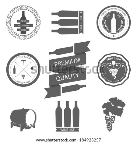 Vector set of Wine Labels with graphic design elements. Decorative elements - glasses for wine, grapes, bottle, grapes isolated on white. - stock vector