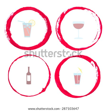Vector set of Wine stain circles, splashes and spot isolated on white background for logo design. Watercolor hand drawing glass marks. - stock vector