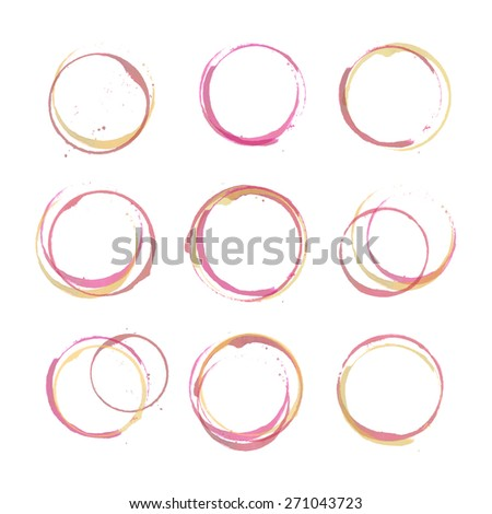 Vector set of Wine stain circles, splashes and spot isolated on white background. Watercolor hand drawing glass marks for restaurant menu - stock vector