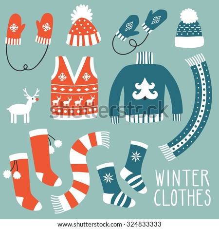 Vector set of winter clothes: sweater, waistcoat, scarfs, hats, mittens, socks. Hand drawing clothes with cute traditional ornaments.  - stock vector