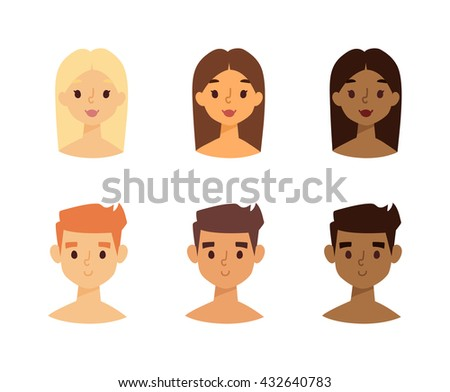 Vector set of women and men faces with skin tone from light to dark skin. Skin tone faces chart. Skin tone faces skincare foundation facial model face character. Attractive wellness healthy face. - stock vector
