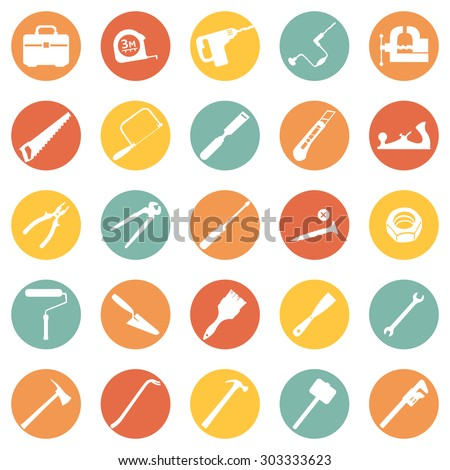 Vector Set of Work Tools Icons - stock vector