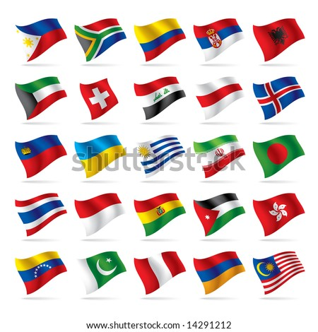 Vector set of world flags 3 - stock vector