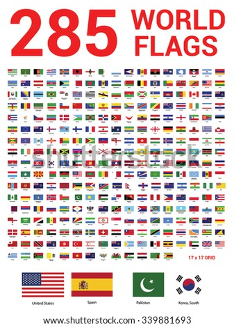 Vector set of 285 world Flags of sovereign states with names.  - stock vector