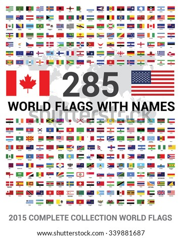 Vector set of 285 world Flags of sovereign states with names. 2015 Complete Collection world Flags. - stock vector