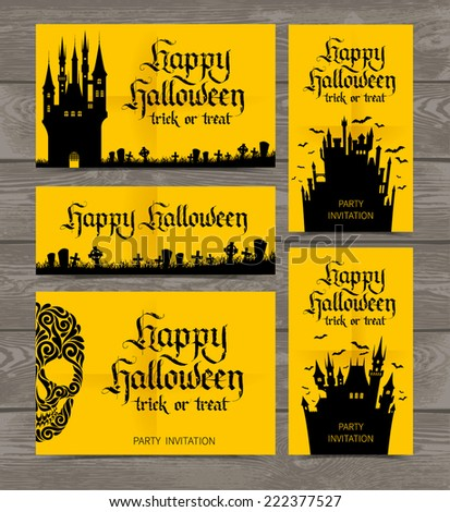Vector set of yellow cards with castles. Happy Halloween party invitation on wood background. Holidays calligraphic inscription - stock vector