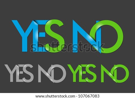 vector set of yes & no text design element. - stock vector