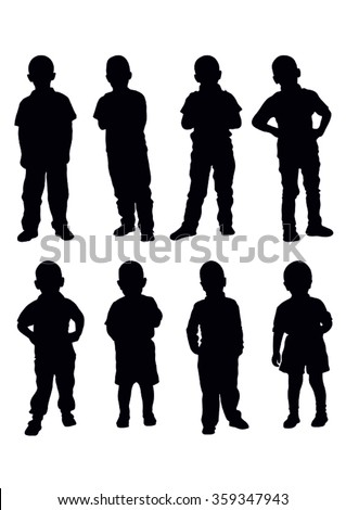 vector set of young boys standing silhouette - stock vector