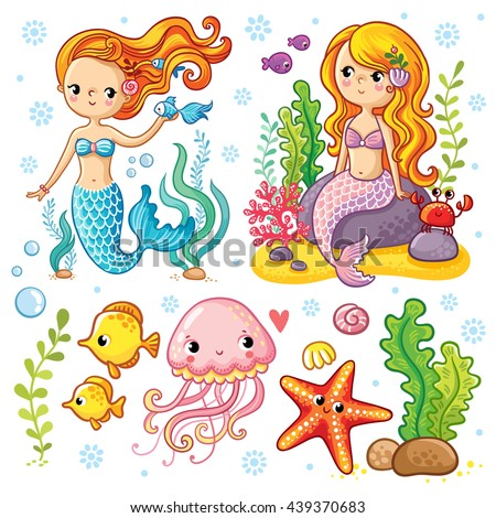 Vector set on the marine theme with mermaids and sea animals made in cartoon style. Mermaid with fish. Mermaid with fish and crab sitting on the rocks. Jellyfish and starfish with seaweed.  - stock vector