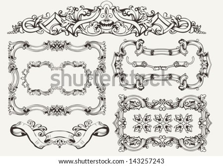 vector set: ornate vintage frames and page decoration - stock vector