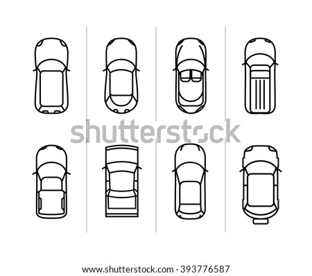 Vector set outline cars top view. Vector car icons. - stock vector