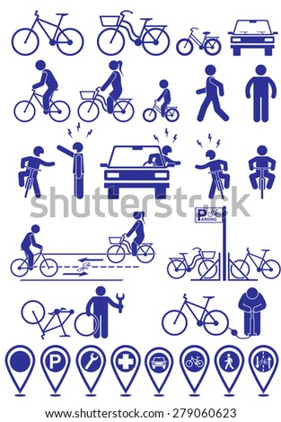 Vector set pictograms bicycle infrastructure icons. Vector bike accessories set.Various cycling poses in silhouettes - stock vector