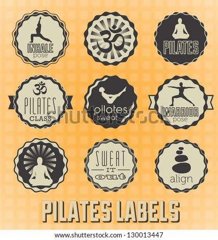 Vector Set: Pilates Labels and Vectors - stock vector