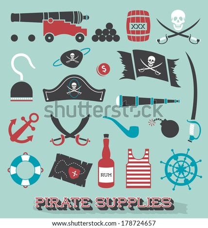 Vector Set: Pirate Supplies Silhouettes and Icons - stock vector