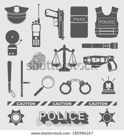 Vector Set: Police Officer and Detective Icons - stock vector
