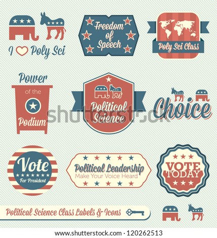 Vector Set: Political Science Class Labels and Icons - stock vector