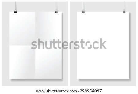 Vector set posters hanging on white wall - stock vector
