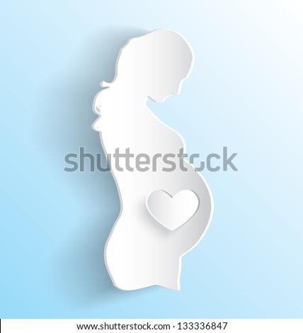 Vector Set: Pregnant Woman Peeling Sticker - stock vector