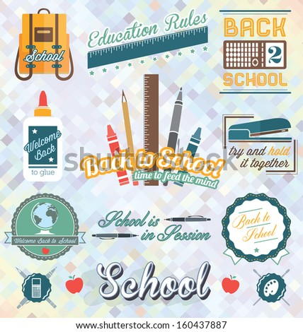 Vector Set: Retro Back to School Labels and Icons - stock vector