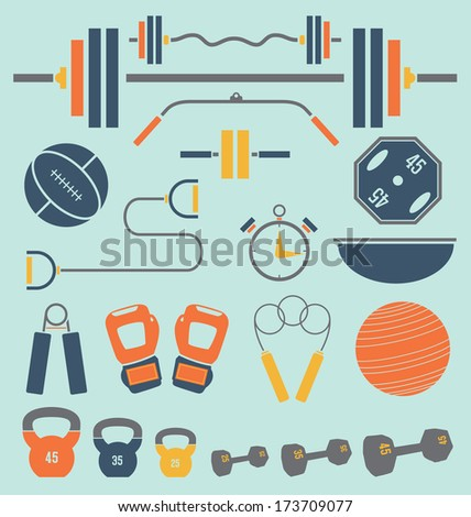 Vector Set: Retro Color Flat Gym and Workout Equipment - stock vector