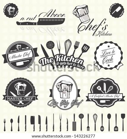 Vector Set: Retro Master Chef Labels - stock vector