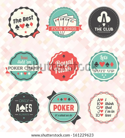 Vector Set: Retro Poker Labels and Icons - stock vector
