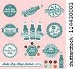 Vector Set: Retro Vintage Soda Pop Labels and Stickers - stock vector