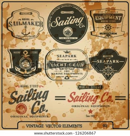 vector set,Sailor Design Collection.sea store set.sail vector elements set. - stock vector