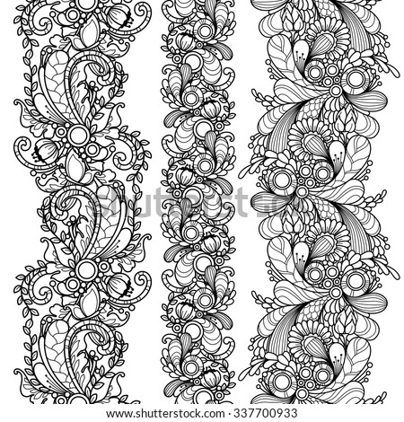 Vector set seamless pattern borders in doodle style. Floral, nature, ornate, decorative, tribal, abstract pattern. Black and white monochrome background. Zentangle hand drawn coloring book page - stock vector