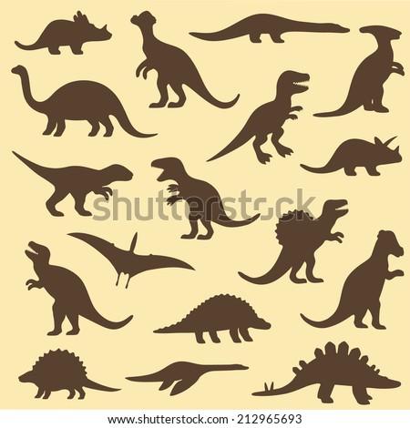 vector set silhouettes of dinosaur,animal illustration - stock vector