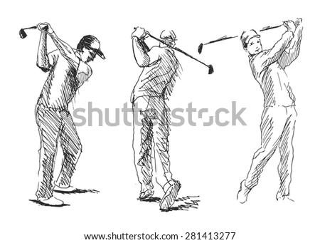 Vector set sketch golfer - stock vector