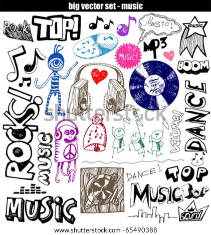 vector set : Sketchy music illustrations - stock vector